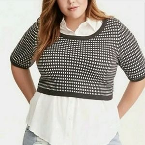 Torrid Cropped Short Sleeve Sweater with Dots